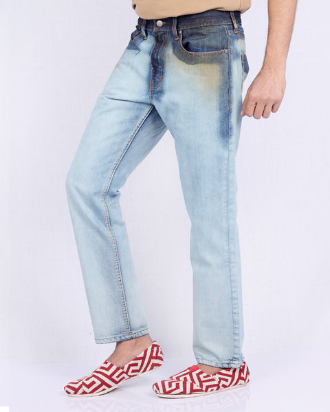 March Washed out Look Jeans W/ Greased Pockets for Men