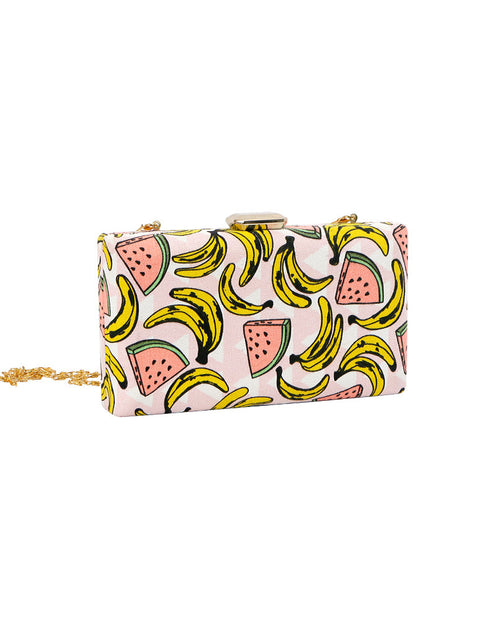 March White Canvas Clutch Bag With Bananas and Melons (Chain Included)