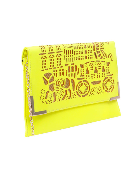 March Neon Yellow Flat Leather Purse with Laser Work (Chain Included)