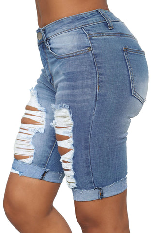 Blue Ribbed High Waist Cuffs Denim Shorts