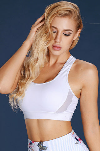 White Back Hollow-Out Sports Bra