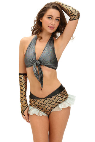 Silver Gold Halter Mermaid Costume
