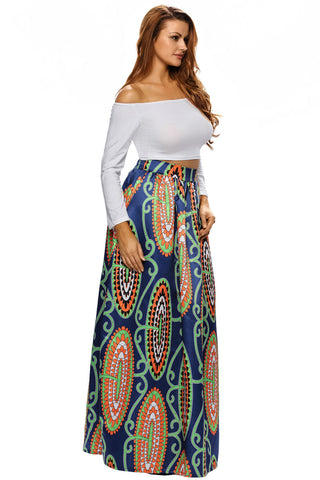 Abstract Print Casual Long Skirt