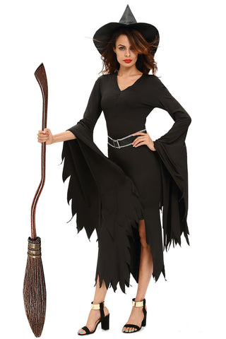 Black V Neck Gothic Witch Horror Costume