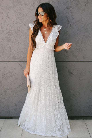 White Lace Tiered Sleeveless Evening Gown