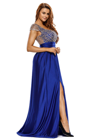 Blue Sassy Lace Slit Floor Length Gown Dress