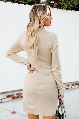 Beige High Neck Pullover Sweater Dress