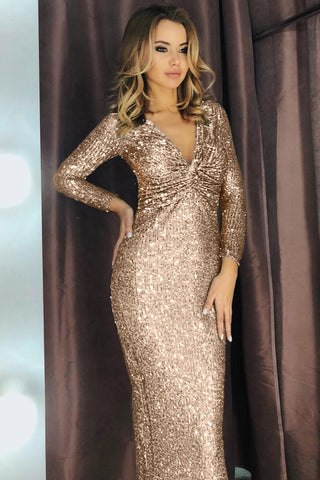 Beige Long Sleeves Ruched Sequin Dress