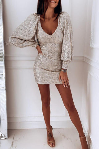 Beige Puffy Sleeves Metallic Sequin Dress