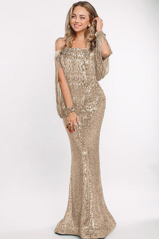 Beige Off Shoulder Sequin Tasseled Sleeve Gown