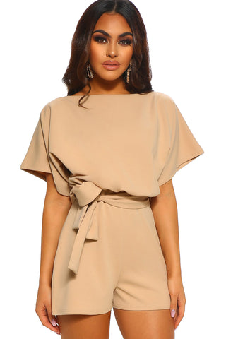 Beige Over Top Belted Short Sleeves Playsuit