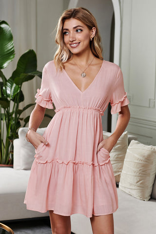 Light Pink Ruffle Sleeves Pocketed Tiered Dress