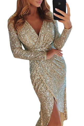 Beige Sequins Wrap Irregular Dress