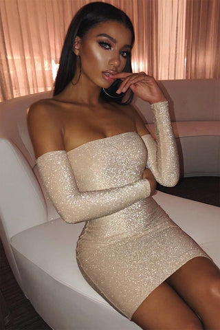 Beige Off Shoulder Sparkle Dress