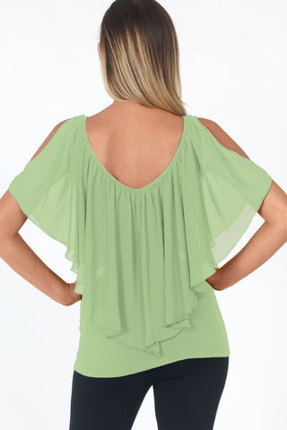 Green Flutter Cold Shoulders Top