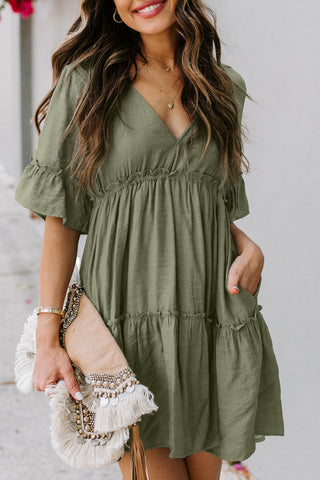 Light Green Ruffle Sleeves Pocketed Tiered Dress