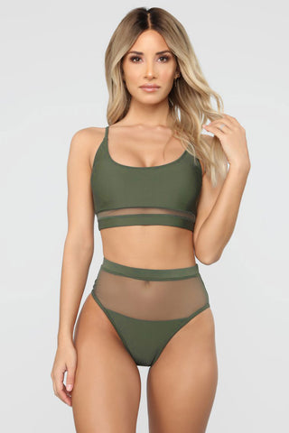 Army Green Mesh Patchwork High waist Bikini Set