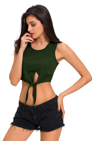 Green Front Tie Crop Top