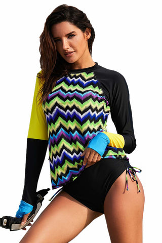 Black Striped Rashguard Top Bikini Set