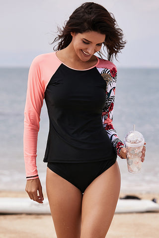 Black Raglan Sleeve Rashguard Beach Top