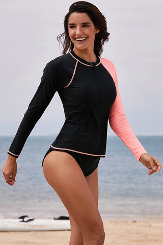 Black Raglan Sleeve Front Zip Rashguard Top