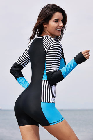 Blue Romper Style Stripes Rashguard Suit