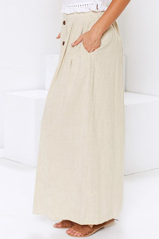 Beige Buttoned High Waist Long Skirt