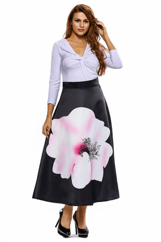 Flared A-line High Waist Midi Skirt
