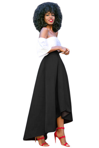 Asymmetri High Waist Pleated Long Skirt