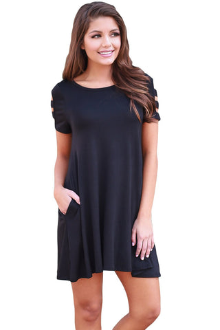 Black Relaxing Casual Chic Short Dress