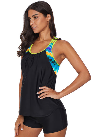 Black Strappy T-Back Print Beach Top