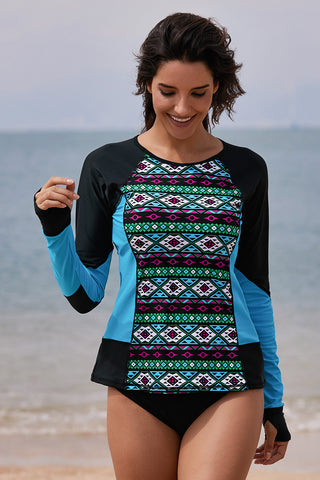 Black Blue Tribal Print Rashguard Top