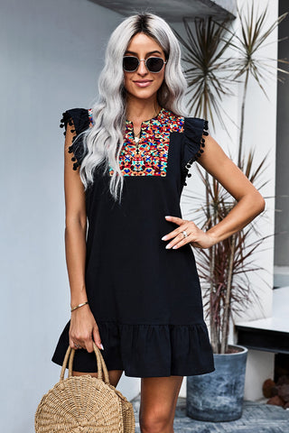 Black Boho Print Pompom Sleeve Short Dress