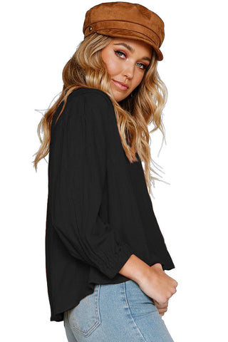 Black Button Down 3/4 Sleeves Shirt Top