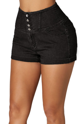 Black High Waist Buttoned Denim Shorts