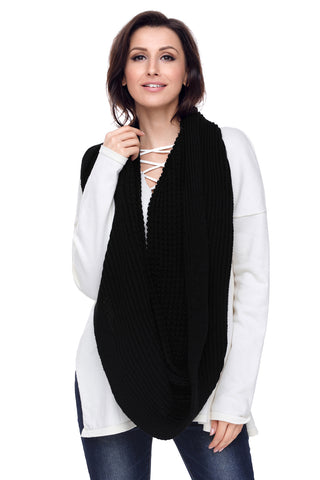 Black  Cable Knit Long Scarf