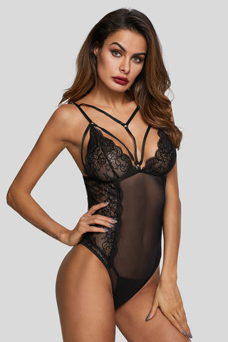 Black Deep Neck Cage Strappy Bodysuit