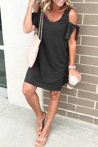 Black Cold Shoulders Short Sleeves Shift Dress