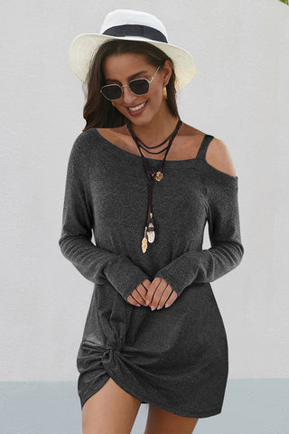 Black Cold Shoulders Knit Twist Short Dress