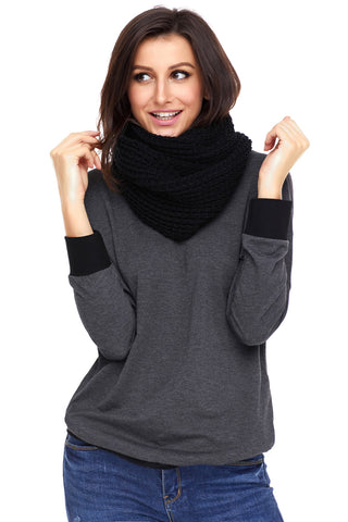 Black Tassel Knit Long Scarf