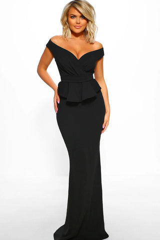 Black Deep Neck Short Sleeves Peplum Dress