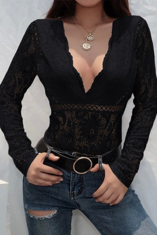 Black Deep Neck Skinny Lace Bodysuit