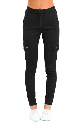 Black Drawstring Ankle Length Jeans