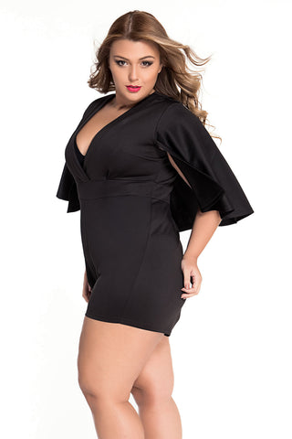 Black Plunging Fitted Pretty Batwing Romper - Boldgal.com