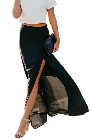Black Drop High Waist Side Slit Long Skirt