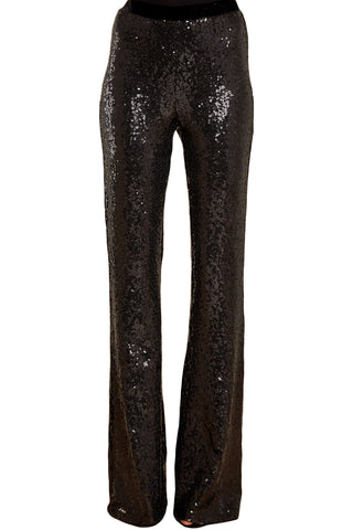 Black Sequin Eye Catching Wide Leg Pants