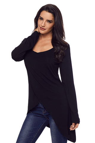 Black Wrap Long Sleeves Top