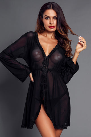 Black Flared Long Sleeve G-String Babydoll