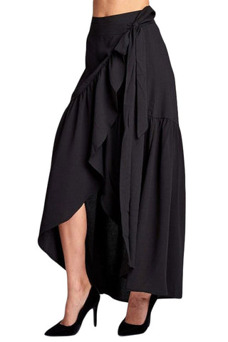 Black Wrap Frilled Long Skirt