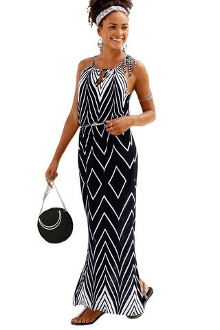 Black Round Neck Print Sleeveless Long Dress